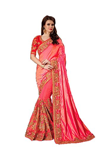 Magneitta Women's Net Saree With Blouse Piece (97037_Pink)