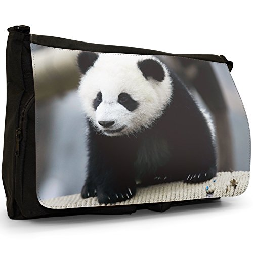 Panda Grande borsa a tracolla Messenger Tela Nera, scuola/Borsa Per Laptop Cute Panda Cub