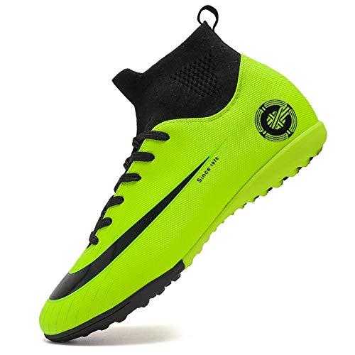 Scarpe da Calcio per Unghie rotte Scarpe da Ginnastica per Adulti per Adulti Tessuti da Volo Alto Aiuto Scarpe da Allenamento per Calcio Verde 36