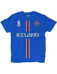 KiarenzaFD Camiseta Camiseta Fútbol birkir Selección Bjarnason Islandia 8 Shirts, KTS01867-L-Blu