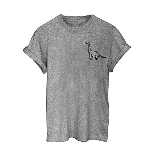 Damen T Shirt, CixNy Bluse Damen Kurzarm Sommer Mädchen Plus Größen Muster Drucken Hemd Oberteil Tops (Y-Grau, X-Large)