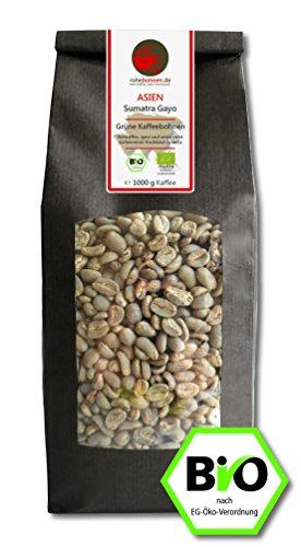 Bio Rohkaffee - Grüner Hochland Kaffee Sumatra Gayo (grüne Kaffeebohnen 1000g) - Röstung Bio Kaffee-bohnen Dunkle