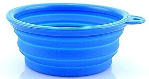 Lugii Cube Pets Bol d'eau Nourriture de voyage Bleu Portable Pliable