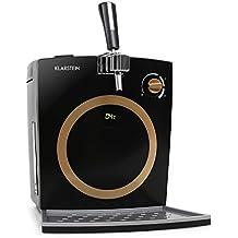 Klarstein Hopfenthal dispensador de cerveza (con refrigeración activa silenciosa, 5 litros, sistema de bombeo, pantalla LED, indicador temperatura, grifo integrado) - negro dorado