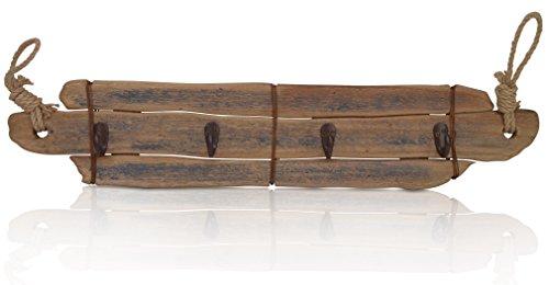 CHICCIE Wandgarderobe aus Holz - mit 4 Metallhaken - Länge 70cm - Hakenleiste - Kleiderständer - Handtuchhalter - Maritime