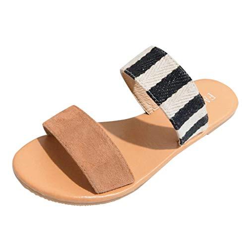 ✿✿Eaylis Damen Sandalen LäSsige, Farblich Abgestimmte, Flache Retro-RöMer-Hose Sommer Strand Schuhe Hausschuhe Stilvoll Und Elegant