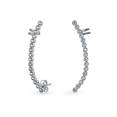 Bling Jewelry Sterling Silver CZ Modern Curve Ear Cuff Ear Crawler Pins