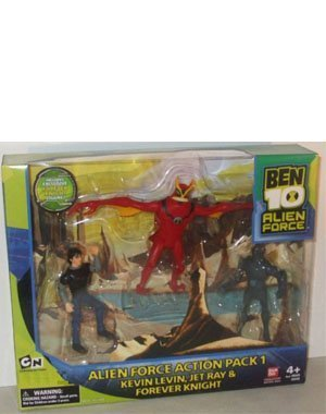 Ben 10 Alien Force 4 Inch Exclusive Action Figure 3-Pack Action Pack 1 (Kevin Levin, Jet Ray and Forever Knight) by Ben 10