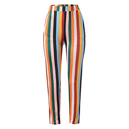 Indian Girl Kostüm Kleinkind - MOTOCO Damen Regenbogen Multicolor Striped Print Hosen Sommer Casual Straight Pants Hosen(XL(38-40),Mehrfarbig)