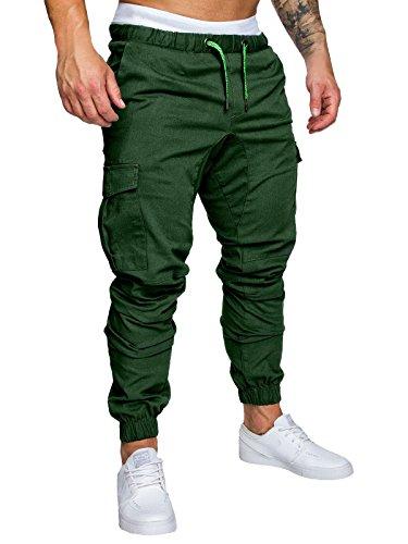 Herren Hose Cargo Chino Jeans Stretch Jogger Sporthose Slim-Fit Freizeithose (Grün, L)