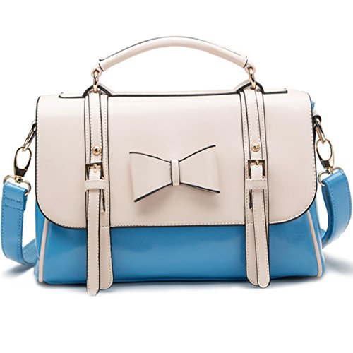 Schulterbeutel Schultertaschen Blau Tragetaschen Stil Bowknot Damen Designer KAXIDY Leder Promi Faux Blau Modischer A1zwOqH
