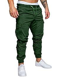 Cindeyar Pantaloni Uomo Lunghi Cargo con Coulisse Tasche Laterali Trousers della di Sport Pants Elastici Casual Maschi