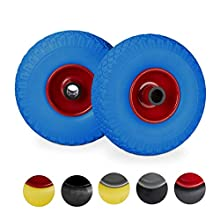 Relaxdays Hand Truck Spare Tyre Set, Flatproof, 3.00-4 Solid Rubber Wheel, 25mm Axle, 100 kg, 260 x 85 mm, Blue-Red
