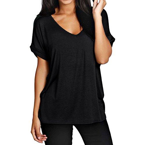 Janisramone Frauen sackartig biegen sie bis lose flügel-shirt mit V-ausschnitt kurzarm größe 8-20