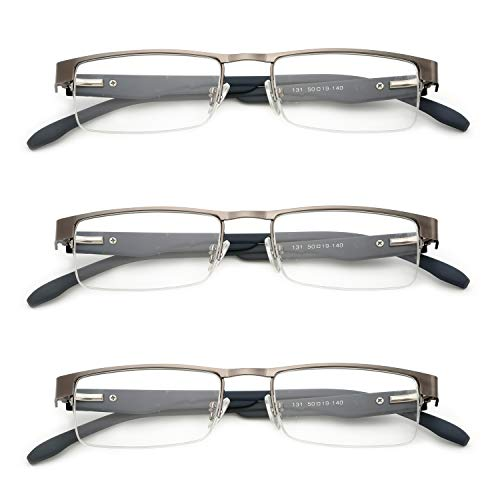 VEVISTARS Metall Lesebrillen Herren Damen Klassische Halbrandbrille Stärken Breit Lesebrille Qualität Schwarz Braun Grau (3 Stück Grau, 1.5)