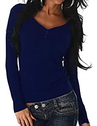 Luxestar Damen dünner Stretch-Pullover Feinstrick Slim-Fit Langarm-Shirt  Longsleeve Sweatshirt Einfarbig 9aea5e1ee8