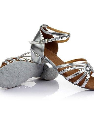 ShangYi Scarpe da ballo - Disponibile su misura - Da donna / Per bambini - Balli latino-americani - Tacco spesso - Raso / Paillette -Nero / Black