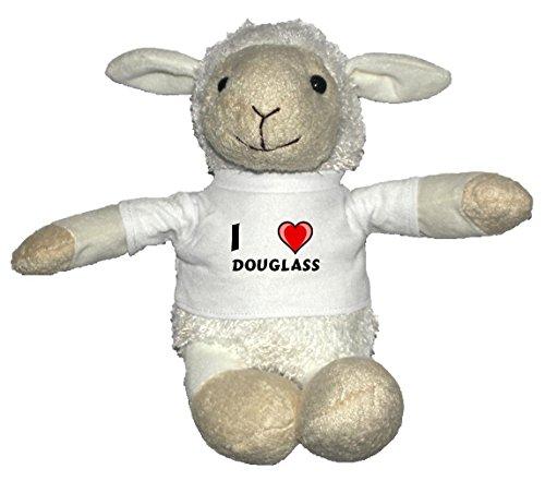 Preisvergleich Produktbild Weiß Schaf Plüschtier mit T-shirt mit Aufschrift Ich liebe Douglass (Vorname/Zuname/Spitzname)
