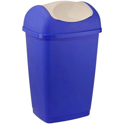axentia Schwingdeckeleimer in den Farben Blau und Weiß, Abfalleimer aus Kunststoff für Küche & Bad, Mülleimer mit Schwingdeckel, Fassungsvermögen: ca. 25 Liter