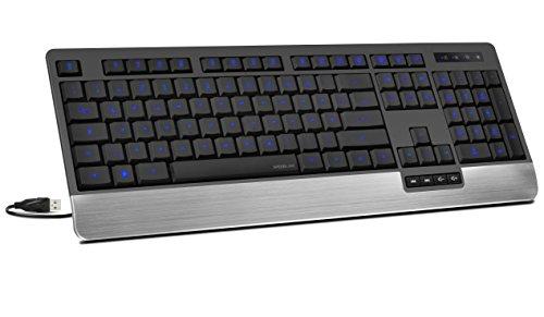 Speedlink kabelgebundene Tastatur - LUCIDIS Comfort Illuminated Keyboard DE-Layout (LED-Tastenbeleuchtung - Höhenverstellung für optimale Ergonomie - 1,5m Kabellänge) für PC / Computer wired Keyboard schwarz