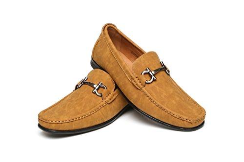 Hommes A Enfiler Mode chic décontracté Mocassin Chaussures Semelle Antidérapante avec Talon Designer Moccasin Nouveau Style tailles UK Fauve