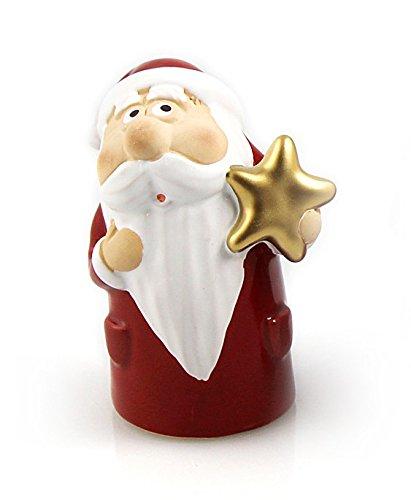 Deko Figur lustiger Weihnachtsmann Stern 11 cm, Ton rot weiß, Steingut Tonfigur Nikolaus Dekofigur Winter Weihnachten Weihnachtsfigur Weihnachtsdeko modern