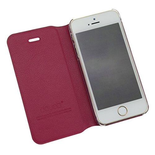 doupi Deluxe FlipCover pour iPhone 4 iPhone 4S ( RedPink ) FlipCase Flip Magnet Cover Case Couverture Book Style Stand Protecteur d'écran - Rouge Rose RougeRose