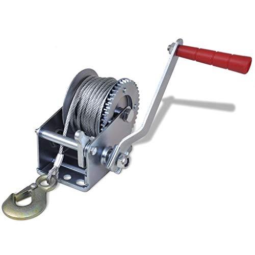 mewmewcat Cabrestante Manual de Arrastre Peso de Carga 363 kg / 800 lbs con 10m Cable y 4mm Diámetro