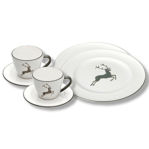 Gmundner Keramik Manufaktur 0319STSG06SET Grauer Hirsch Breakfast for Two Gourmet,