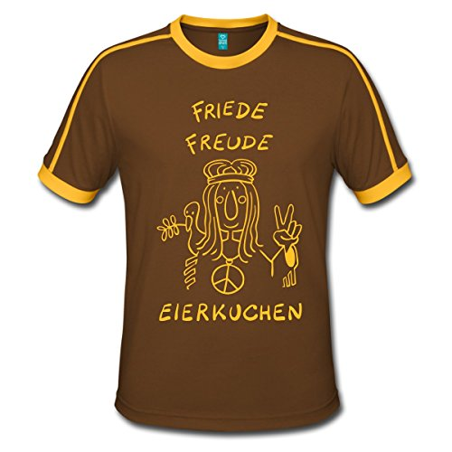 Spreadshirt Friede Freude Eierkuchen T-Shirts Männer Retro-T-Shirt, L, Chocolate/Sun