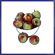 Frutas Póster Impresión Artística con Marco (Plástico) - Bowl Of Apples, Lucy Routh (40 x 40cm)