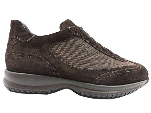 scarpe uomo SANTONI 44,5 sneakers camoscio tessuto marrone AZ299