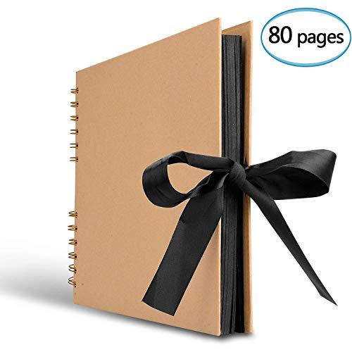 Fotoalbum, 80 schwarze Seiten (40 Blatt), Spiralalbum 31 x 21 cm, A4 Fotobuch