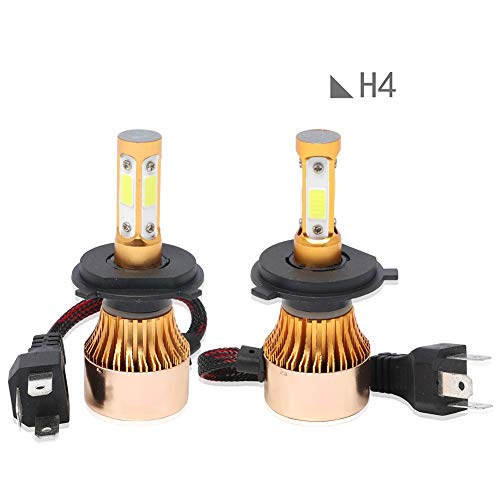 ACCDUER Ampoule de Phare de Voiture, 6500K LED Ampoule de Phare, COB Chips Voiture Tout-en-Un kit de Conversion Super Bright projecteur 36W 8000LM, 2 Pack,Gold
