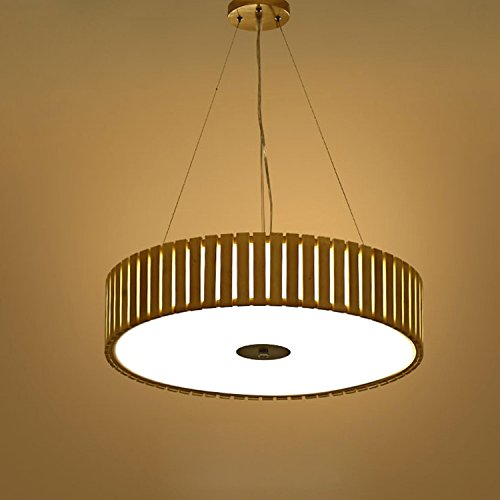 GRFH LED Bambus Holz Pendelleuchte Circular Decke Saug Oberseite Hängelampe Acryl Holz Lampenschirm LED 24W Durchmesser 48Cm