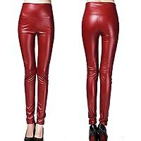 Juleya Mujeres flacas del l¨¢piz de las polainas de cuero delgado Faux Pantalones Pantalones Mujer gruesa lana C34