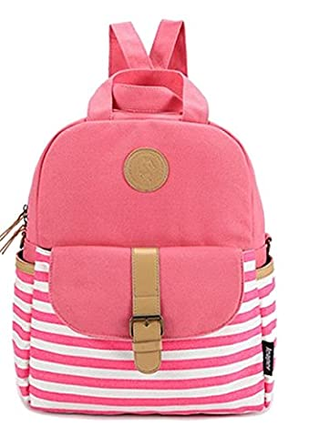 Unisex Fashionable Canvas Backpack School Bag Super Cute Stripe School College Laptop Bag for Teens Girls Boys Students Pink