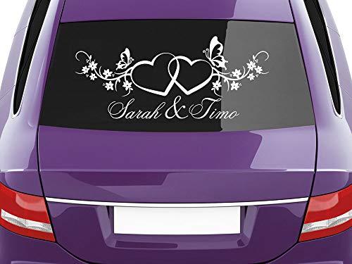 GRAZDesign Geschenke zur Hochzeit Brautpaar Namen, Aufkleber Auto Hochzeit Zwei Herzen, Autoaufkleber Hochzeit Romantisches Motiv / 30x70cm / 023 Creme