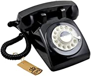 GPO 746 Rotary Dial Retro Landline Telephone with Curly Cord and Authentic Bell Ring , Retro Vintage Phone Han