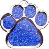 Pet-Tags Bow Wow Meow mit Personalisierung Blaue Haustiermarke glitzernde Pfote (Groß) | GRAVURSERVICE | Personalisierte, moderne Design-Haustiermarken für Hunde und Katzen