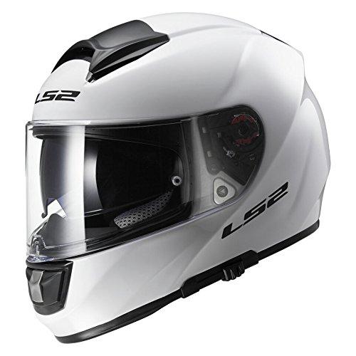 LS2ff397Vector visage complet en fibre de verre Casque de moto avec deux Visières - Blanc brillant