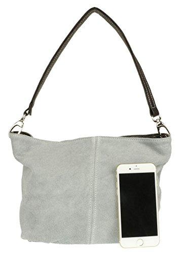 df5bb20461e98 ... Italienisch Grau Henkeltasche Umhängetasche Girly Tasche Wildleder  Handbags wqRIF ...