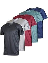 Camisas 5 Piezas Top de Manga Corta de Yoga para Hombres SUNNSEAN Camisas de Secado Rápido Color Liso Casual Transpirable Blusas Verano Camisetas