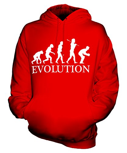 Candymix Cricket Wicket Keeper Evolution des Menschen Unisex Herren Damen Kapuzenpullover, Größe Medium, Farbe Rot -