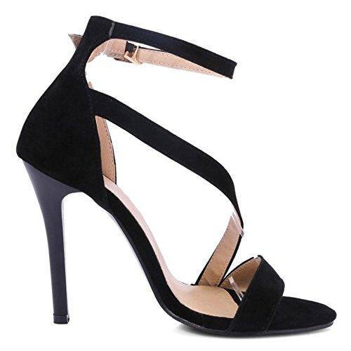 TAOFFEN Femmes Sandales Elegant Aiguille Talons Hauts Sangle De Cheville Chaussures Noir