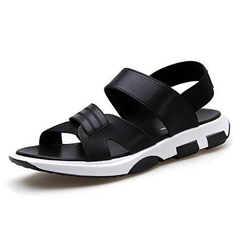 uomini sandali, sport casual, scarpe da spiaggia, genuino traspirante sandali degli uomini, il nero, US10 / EU43 / UK9 / CN44 estate US10/EU43/UK9/CN44