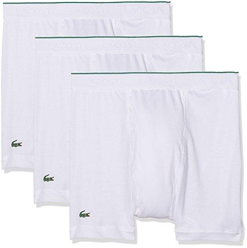 Lacoste Underwear Herren Boxer Brief (3PK) Boxershorts, Weiss 100, X-Large (Herstellergröße: XL) (erPack 3