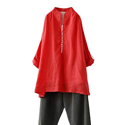 CAOQAO Shirt Lose Bluse Tops Stretch Tunika Top Damen beiläufige Plus Größen-Baumwolloberteil-T-Shirt Weinlese-Feste Knopf-lose Bluse