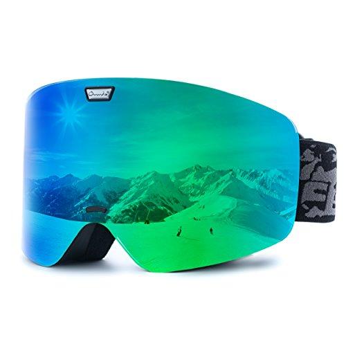 Ommda Skibrille Mit Double Zylindrische Linse OTG Anti-Kratzer und Anti-Nebel UV400 Schutz Ski Goggles Snowboardbrille Schneebrille Sportbrille für Herren Damen Grün