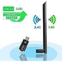 USB WiFi 1200Mbps BETECK Adaptador Antena WiFi USB 3.0 Inalámbrico Dual Banda 5.8GHz/867Mbps 2.4GHz/300Mbps 5dBi Compatibie Windows XP/Vista/7/8/8.1/10/Mac OS
